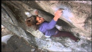 Lynn using Eye-of-tiger style on a rare short-person ascent of Midnight Lightning.